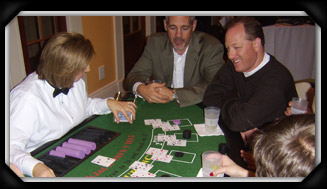Group playing blackjack at an Edge Casino Nights Party in Tulsa OK
